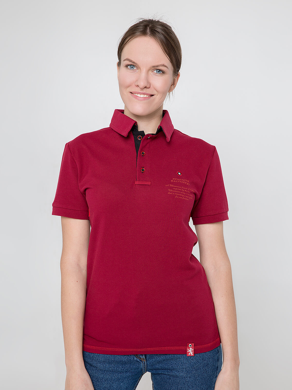 Women's Polo Shirt Wings. Color claret. Unisex polo (men's sizes).