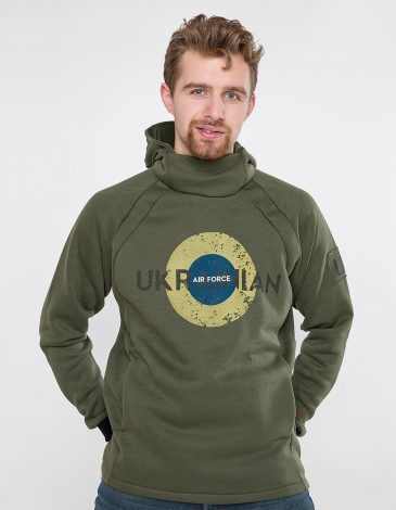 Men's Hoodie Ukrainian Air Force. Color khaki. Unisex hoodie (men's sizes).
