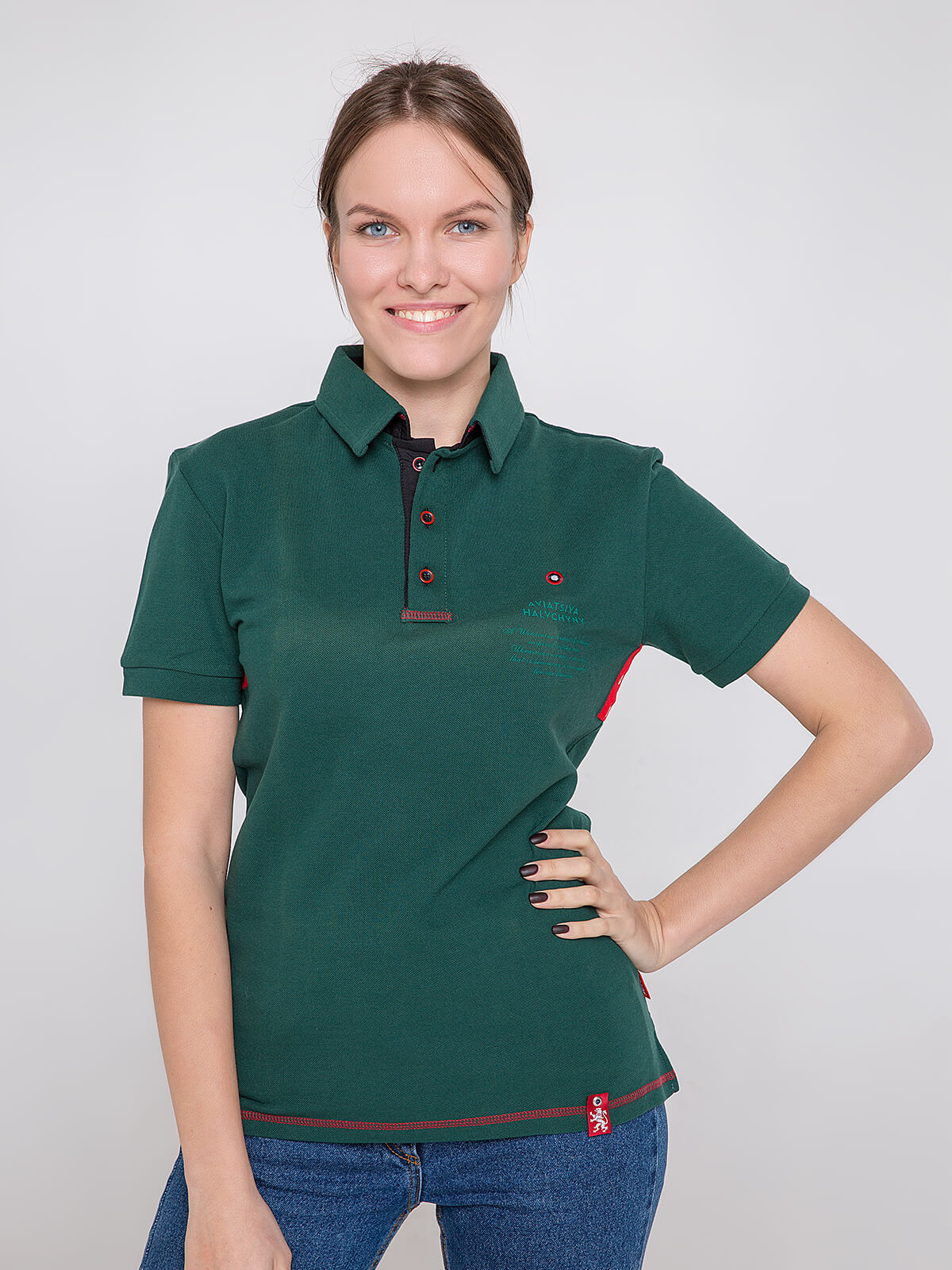 Women's Polo Shirt Wings. Color dark green. Unisex polo (men's sizes).