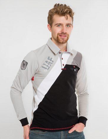 Men's Polo Long 114 Brigade. Color gray. Pique fabric: 100% cotton.