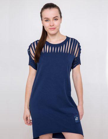 Women's Dress Hannusia. Color navy blue. Material: 95% cotton, 5% spandex.