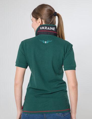 Women's Polo Shirt Wings. Color dark green. 10.