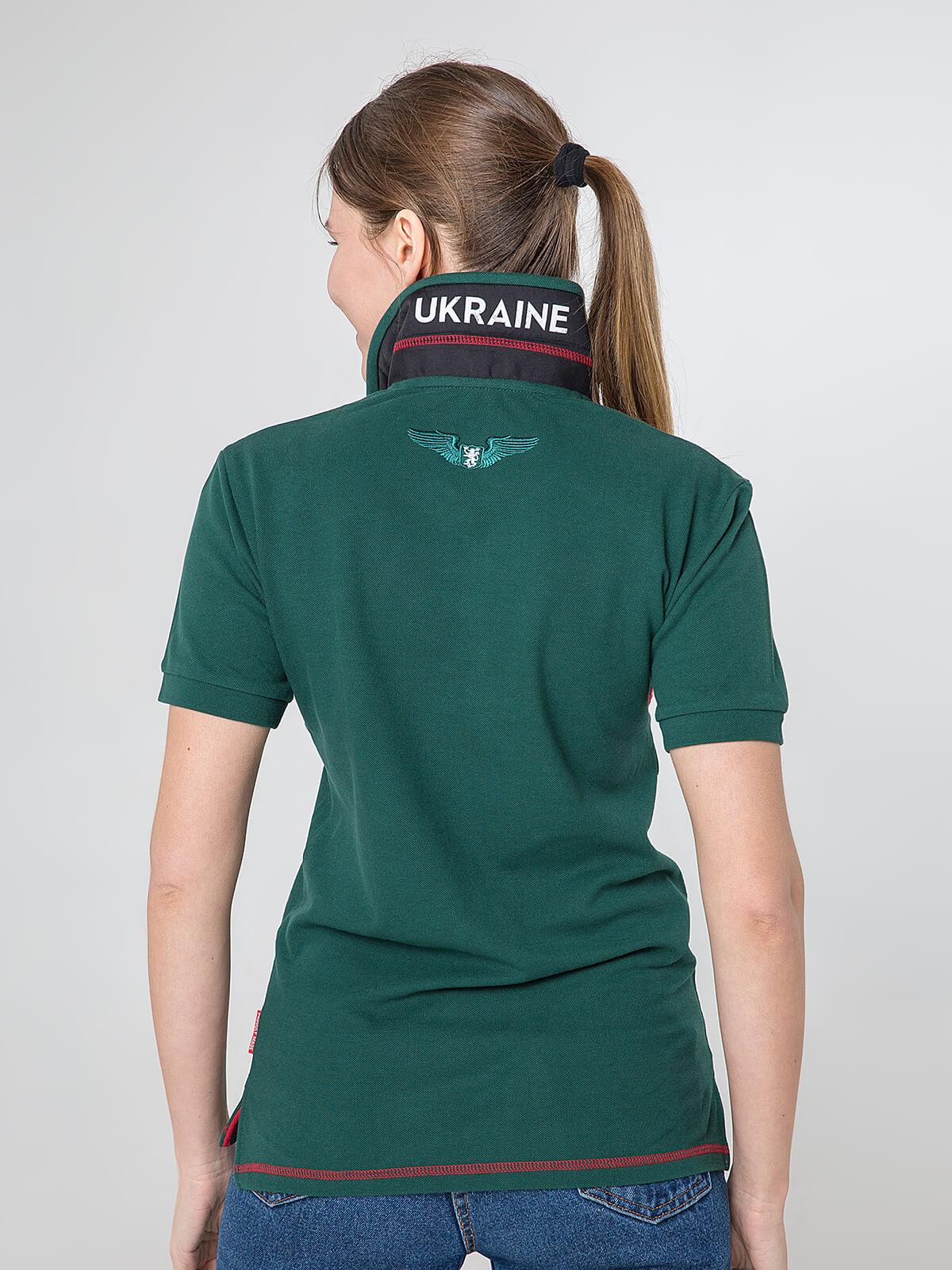 Women's Polo Shirt Wings. Color dark green.  Pique fabric: 100% cotton.