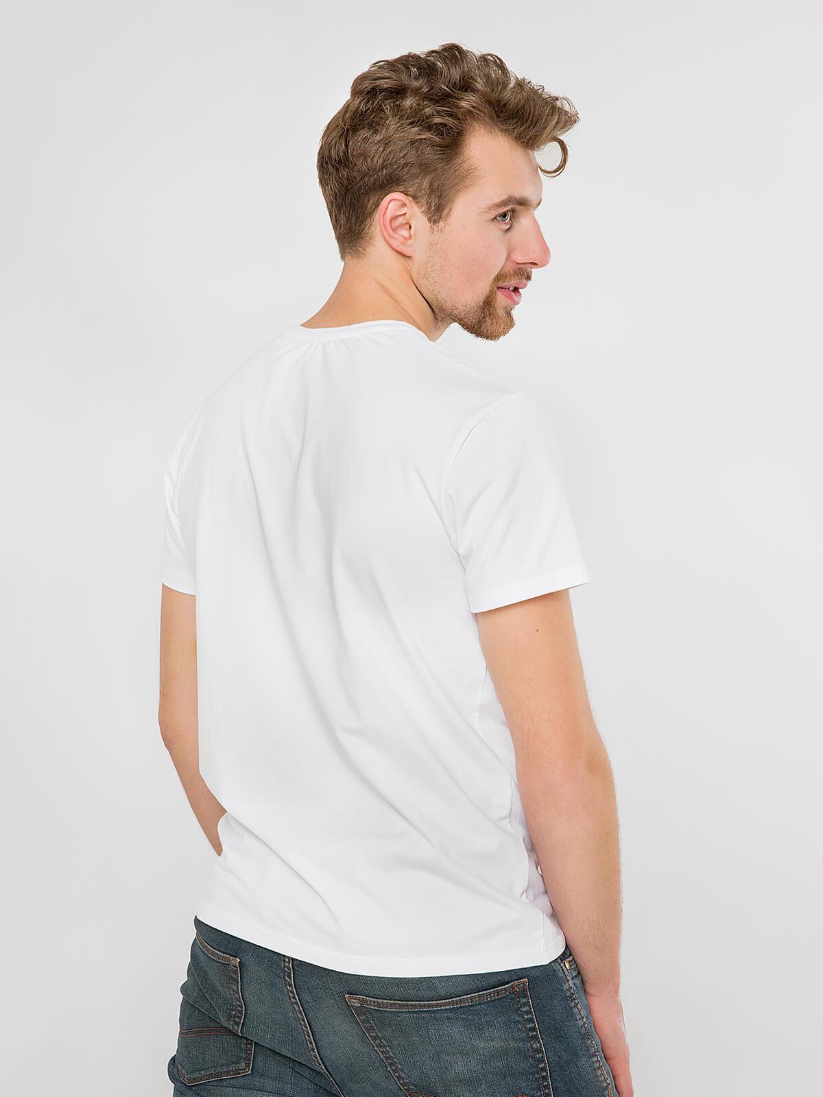 Чоловіча Футболка Сова. Колір білий.  Матеріал: 95% бавовна, 5% спандекс.