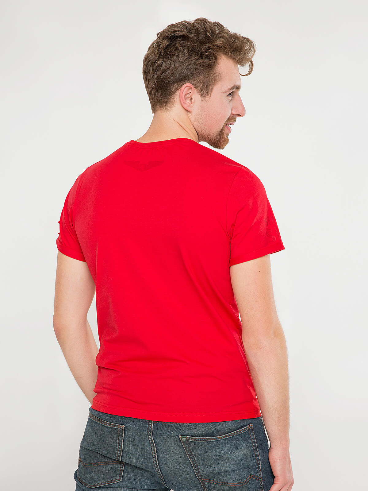 Men's T-Shirt Sikorsky. Color red.  Material: 95% cotton, 5% spandex.