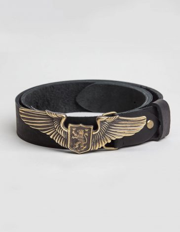 Belt Wings. Color black. Length: 125 cm Material: leather and brass.