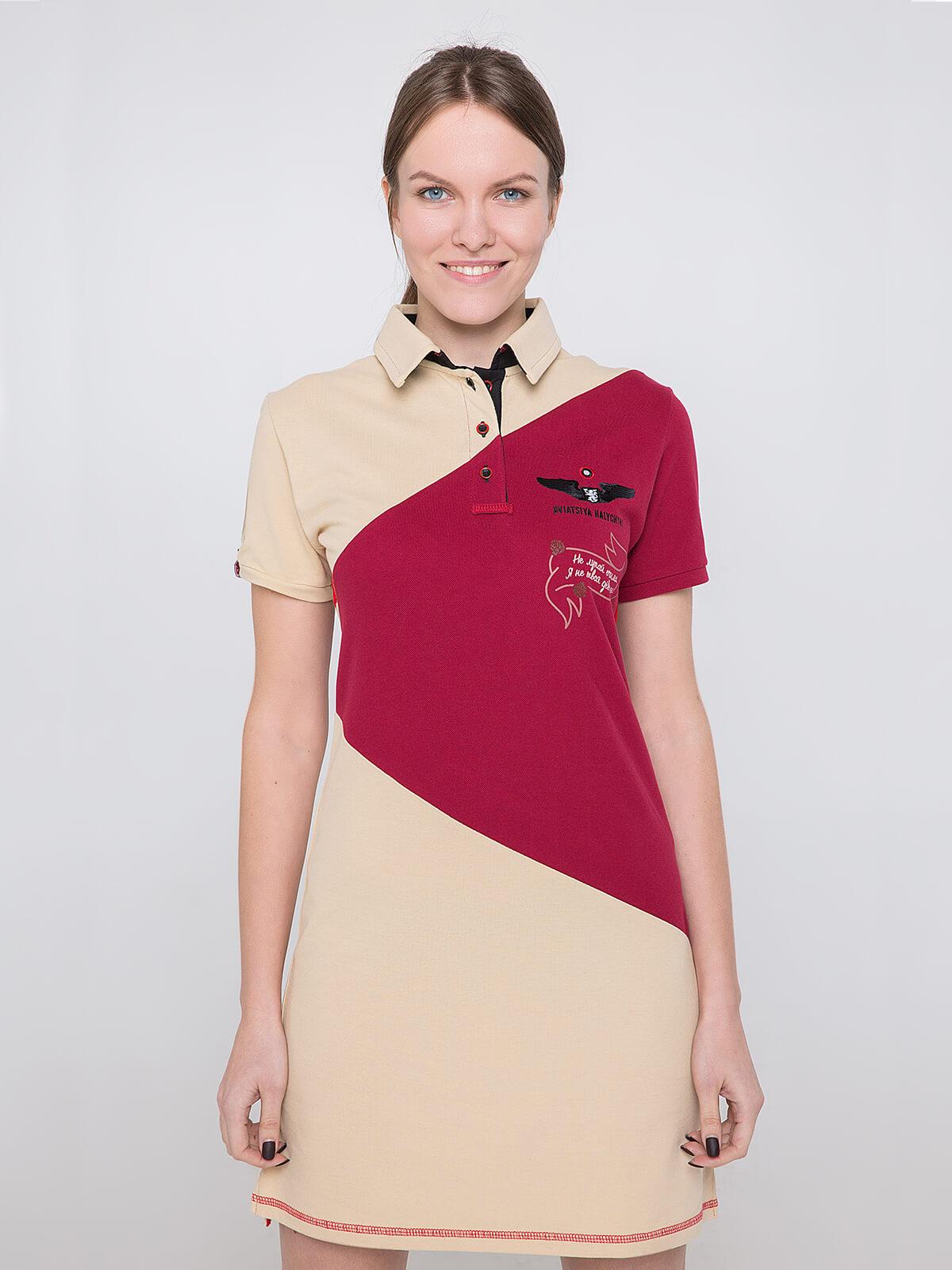 Women's Dress-Polo Shirt Olenka. Color ivory. Pique fabric: 100% cotton.