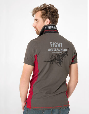Men's Polo Shirt Flying Cossacks. Color khaki brown. Pique fabric: 100% cotton.