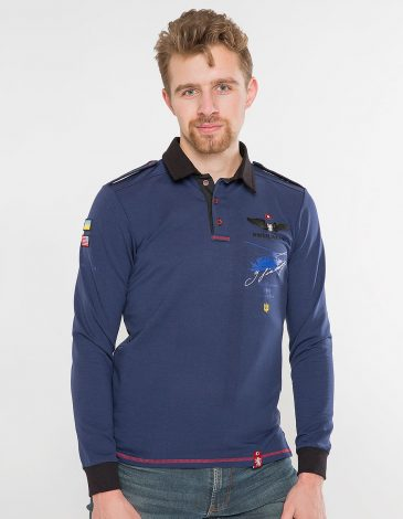 Men's Polo Long Sikorsky. Color navy blue. Material: 75% cotton, 21% polyester, 4% spandex.