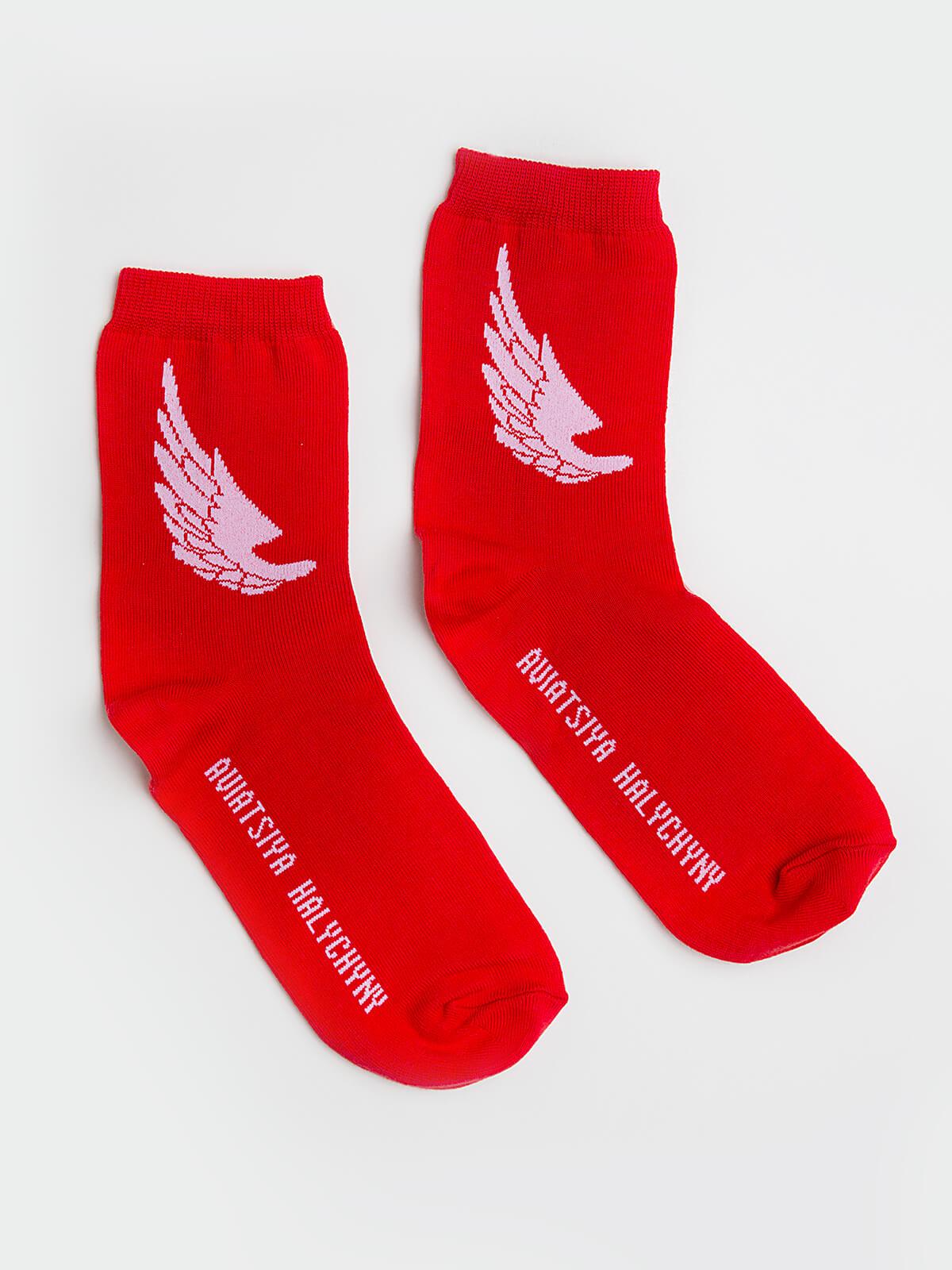 Шкарпетки Крила. Колір червоний. Матеріал: 95% бавовна, 5% еластан  Товар обміну та поверненню не підлягає