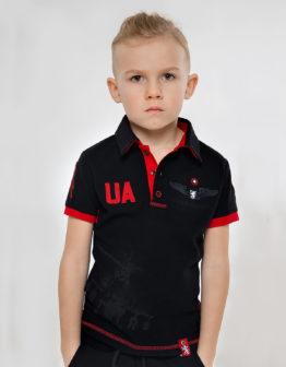 Kids Polo Shirt 12 Brigade (Dragonfighter). Color black. Тканина піке: 100% бавовна.