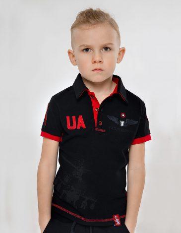 Дитяче Поло 12 Бригада (Змієборець). Колір чорний. Тканина піке: 100% бавовна.