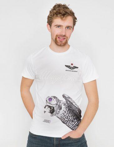 Men's T-Shirt Falcon. Color white. Unisex T-shirt (men's sizes).