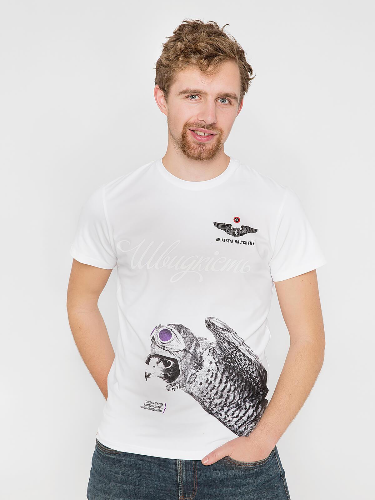 Чоловіча Футболка Сокіл. Колір білий. Футболка унісекс (розміри чоловічі).