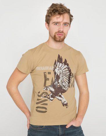 Men's T-Shirt Ukrainian Falcons. Color sand. Material: 95% cotton, 5% spandex.