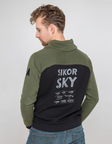 Men's Sweatshirt Sikorsky. Color khaki. Three-cord thread fabric: 79% cotton, 21% polyester.