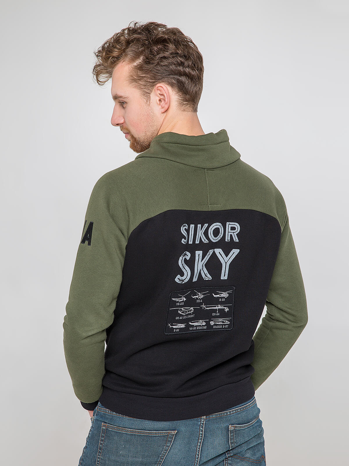 Men's Sweatshirt Sikorsky. Color khaki.  Technique of prints applied: silkscreen printing, embroidery, chevrons.