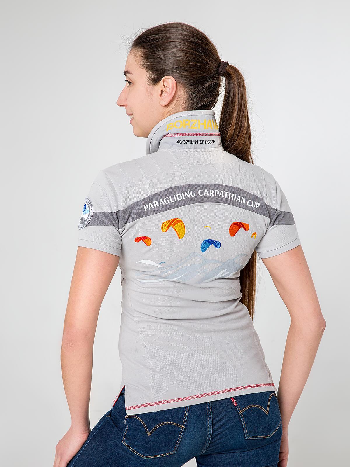 Women's Polo Shirt Borzhava. Color gray.  Technique of prints applied: embroidery, silkscreen printing.