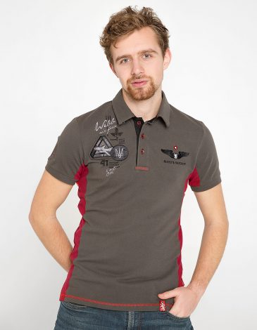 Men's Polo Shirt Flying Cossacks. Color Khaki. Pique fabric: 100% cotton.