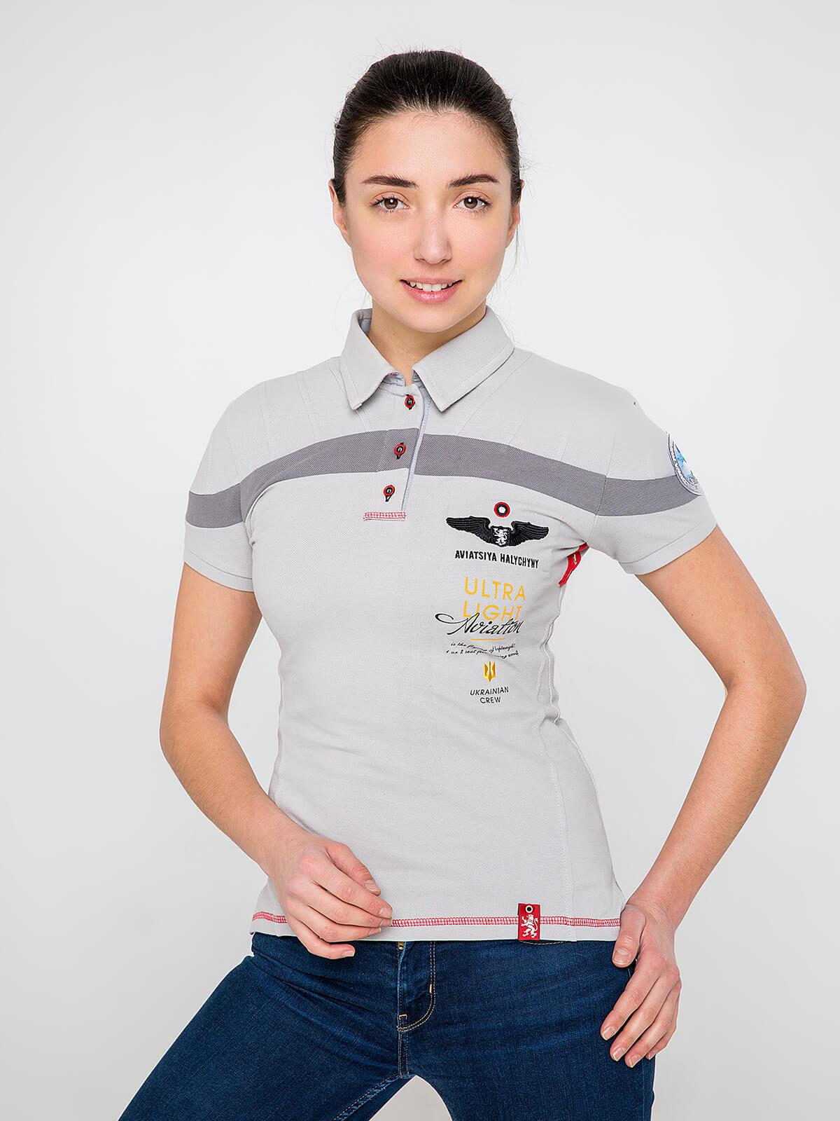 Women's Polo Shirt Borzhava. Color gray. Pique fabric: 100% cotton.