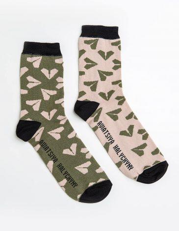 Socks Flying Cossacks. Color dark green. 95% cotton, 5% elastane.