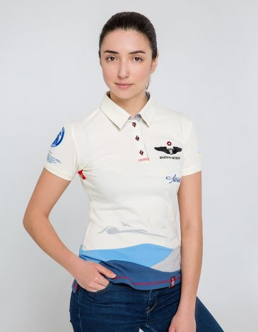 Women's Polo Shirt D'arrigo. Color ivory. Pique fabric: 100% cotton.
