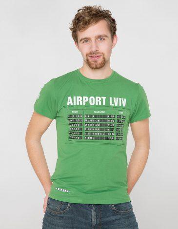 Men's T-Shirt Airport Lviv. Color green. Material: 95% cotton, 5% spandex.