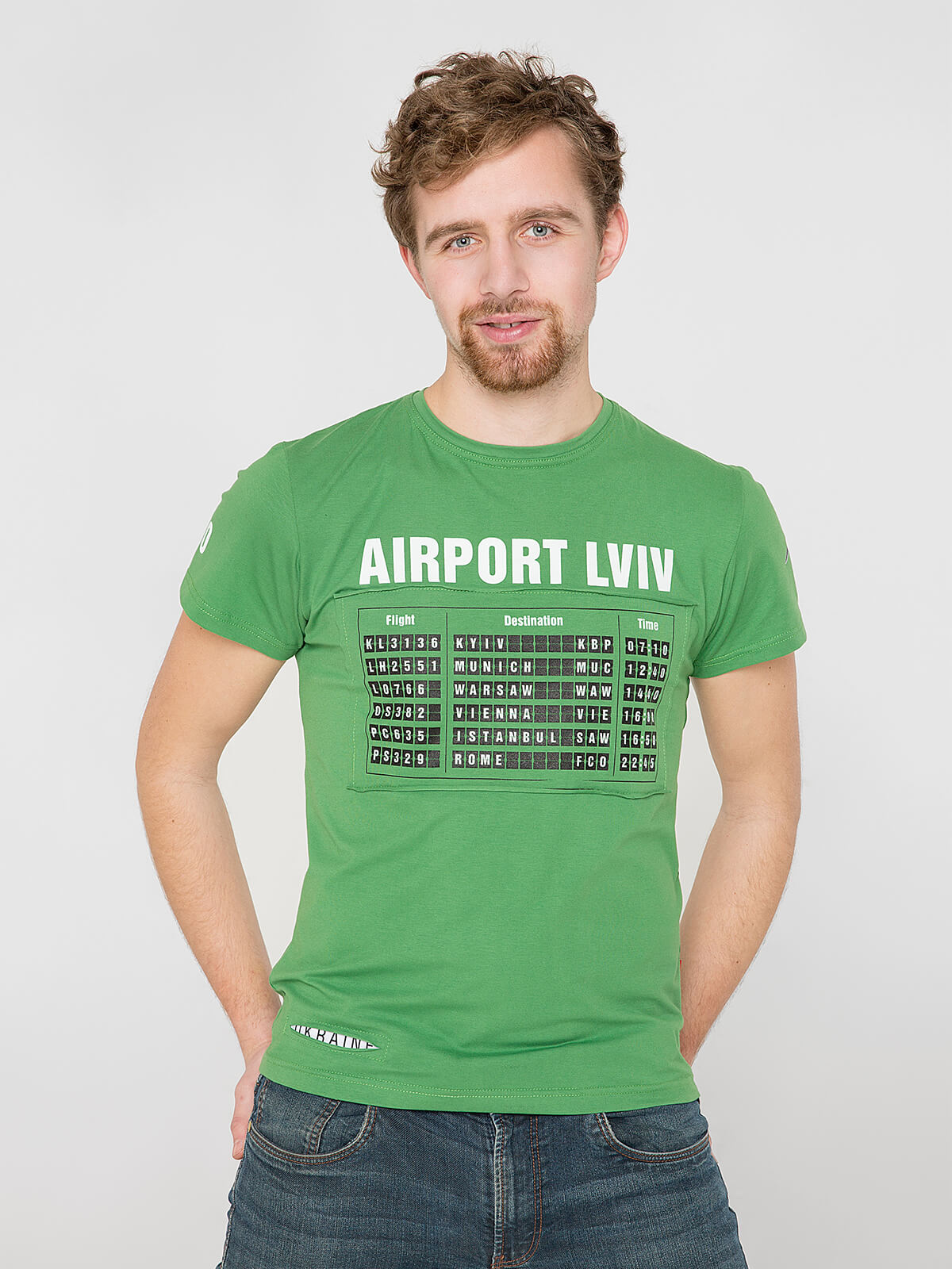 Men's T-Shirt Airport Lviv. Color green. Material: 95% cotton, 5% spandex.