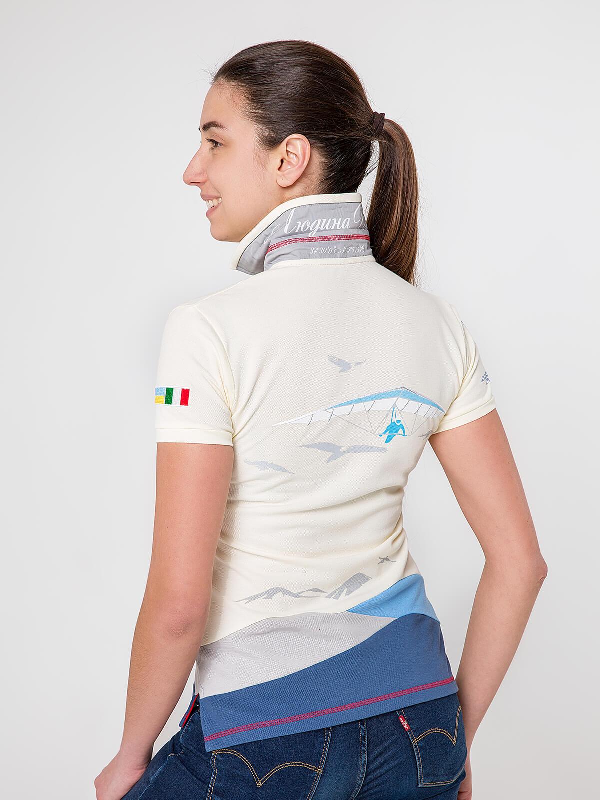 Women's Polo Shirt D'arrigo. Color ivory.  Technique of prints applied: embroidery, silkscreen printing.