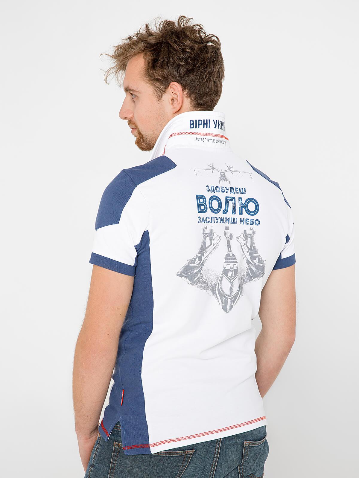 Men's Polo Shirt 10 Brigade. Color white.  Technique of prints applied: embroidery, silkscreen printing.