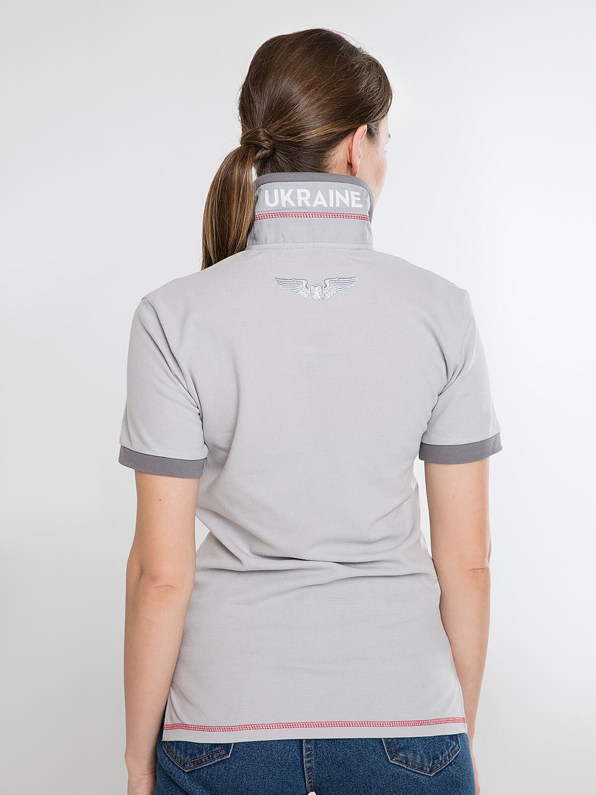 Women's Polo Shirt Wings. Color gray.  Pique fabric: 100% cotton.