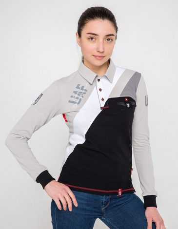 Women's Polo Long 114 Brigade. Color gray. Pique fabric: 100% cotton.