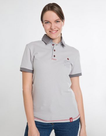 Women's Polo Shirt Wings. Color gray.  Technique of prints applied: embroidery, silkscreen printing.