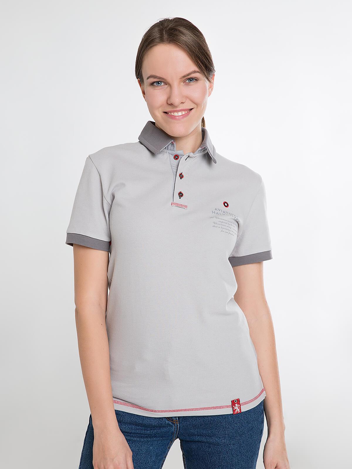 Women's Polo Shirt Wings. Color gray. Unisex polo (men's sizes).