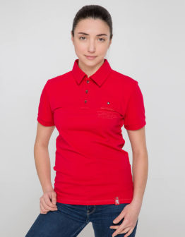 Women's Polo Shirt Wings. Color red. 11.