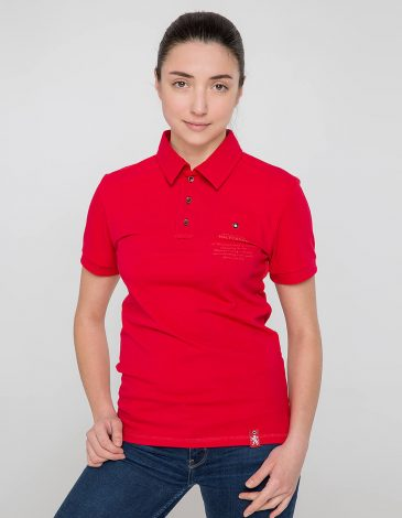 Women's Polo Shirt Wings. Color red. 12.