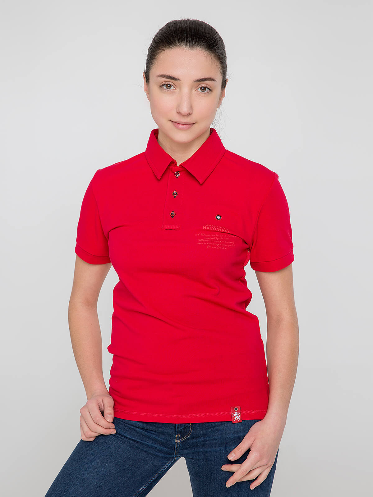 Women's Polo Shirt Wings. Color red. Unisex polo (men's sizes).