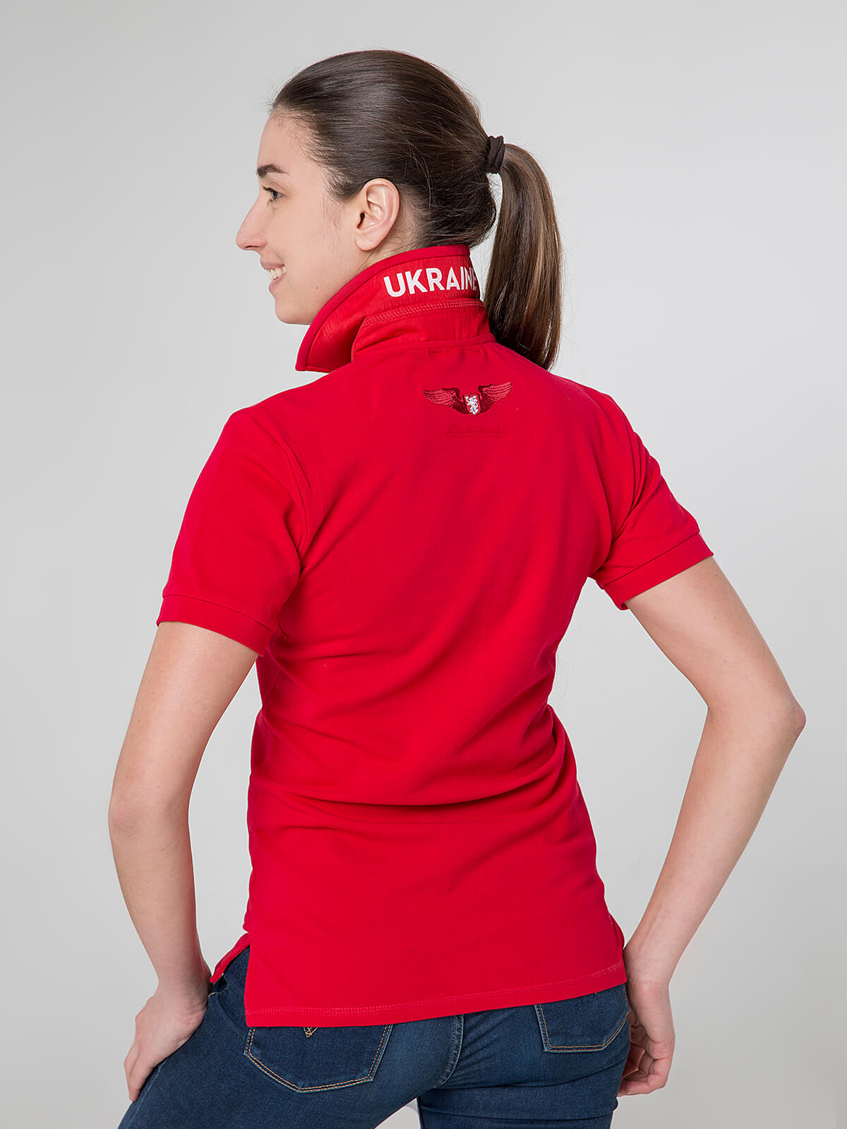 Women's Polo Shirt Wings. Color red.  Pique fabric: 100% cotton.