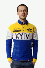 Men's Polo Long Air Race Kyiv. Material: 75% cotton, 21% polyester, 4% spandex.