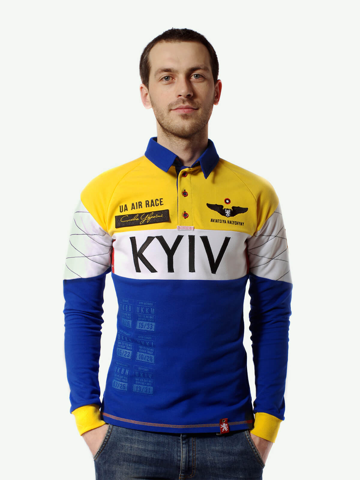 Men's Polo Long Air Race Kyiv. Color navy blue. Material: 75% cotton, 21% polyester, 4% spandex.
