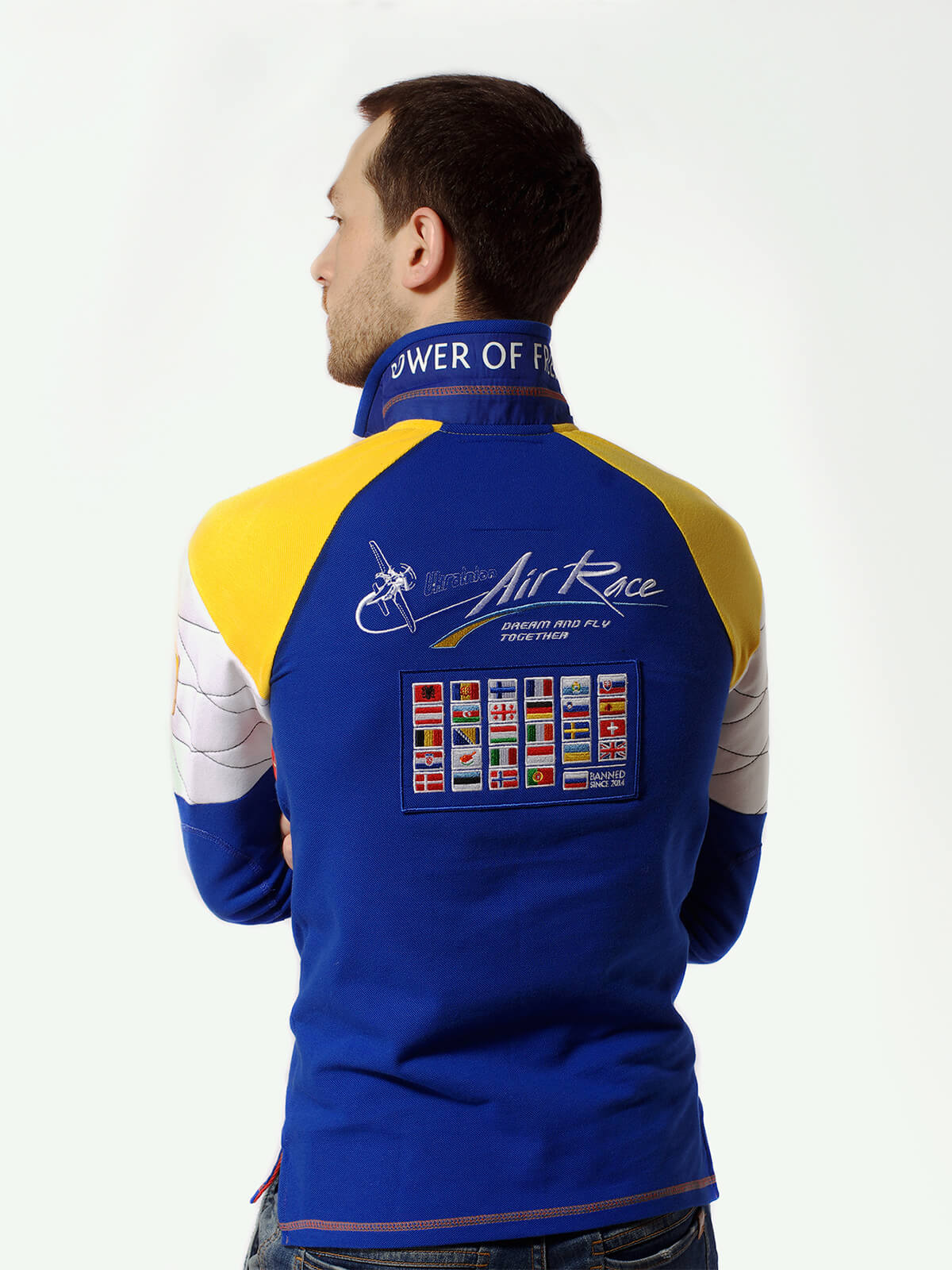 Чоловіче Поло-Лонґ Air Race Kyiv Реглан. Колір синій.  100% бавовна  Відтінки кольорів на вашому екрані можуть відрізнятися від кольору оригіналу.