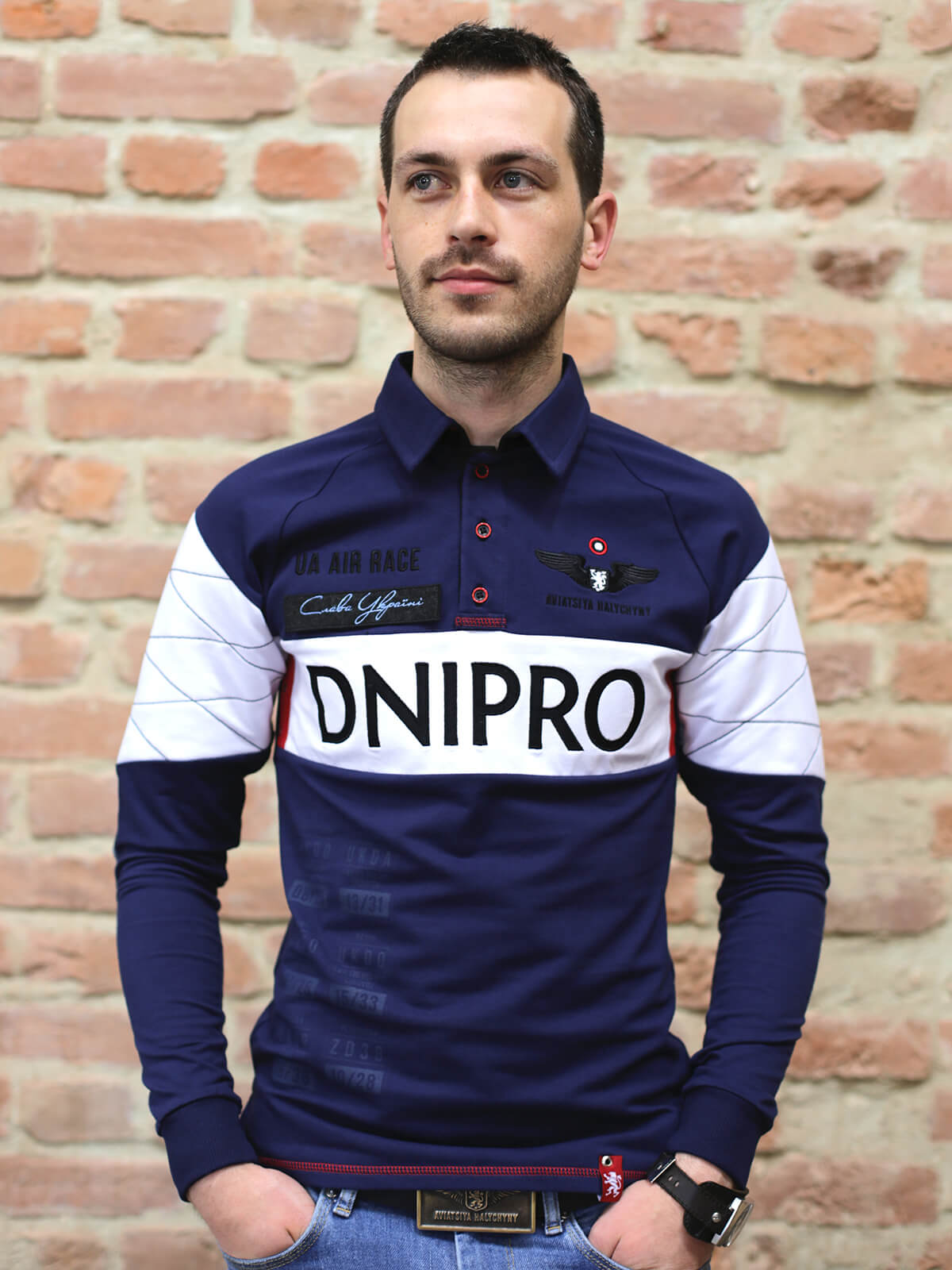 Men's Polo Long Air Race Dnipro. Color dark blue. Material: 75% cotton, 21% polyester, 4% spandex.