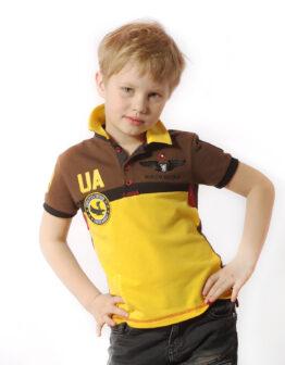 Kids Polo Shirt 7 Brigade (Petro Franko). Color yellow.  Технологія нанесення зображень: вишивка, шовкодрук.