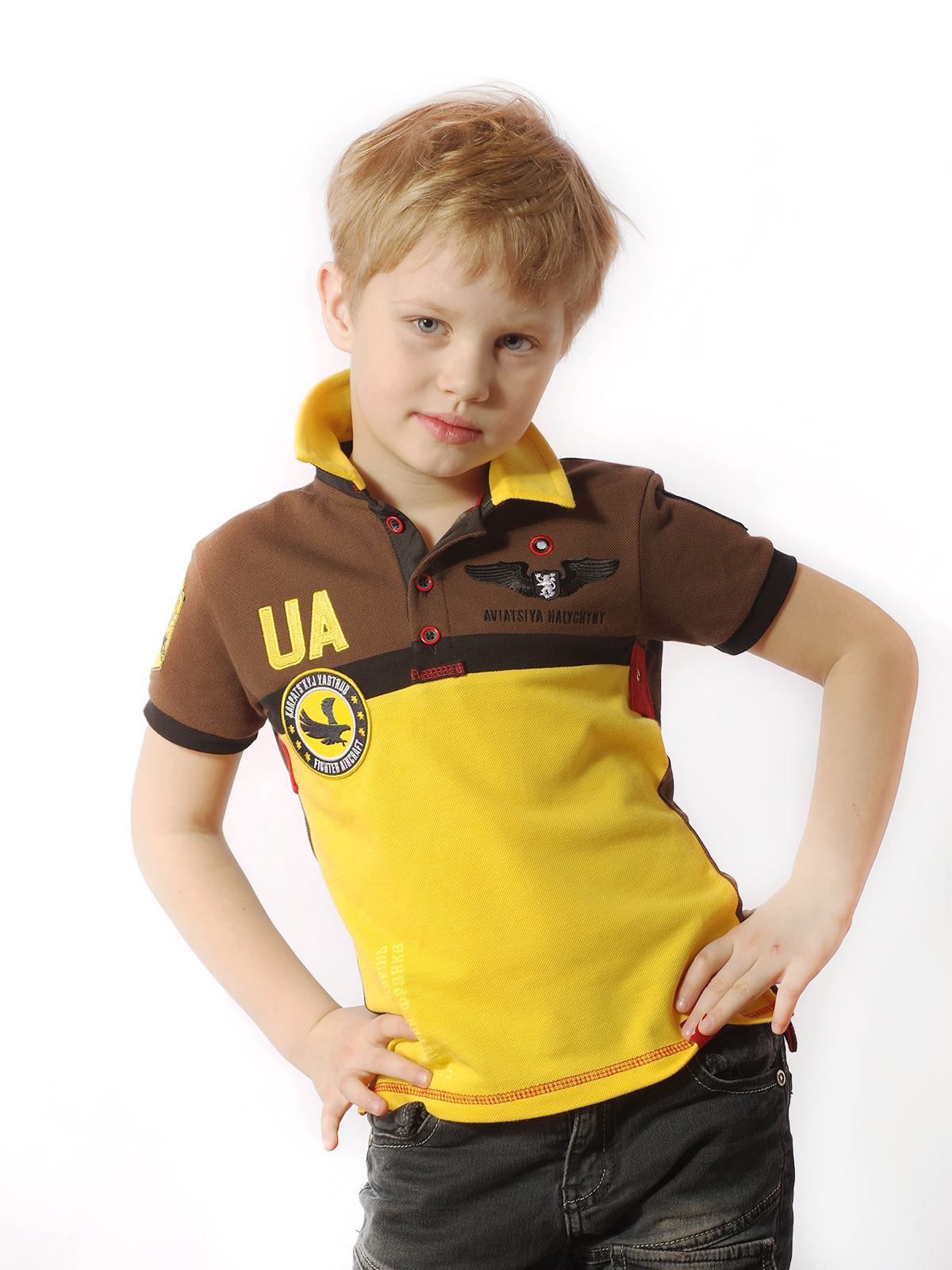 Kids Polo Shirt 7 Brigade (Petro Franko). Color yellow. Pique fabric: 100% cotton.