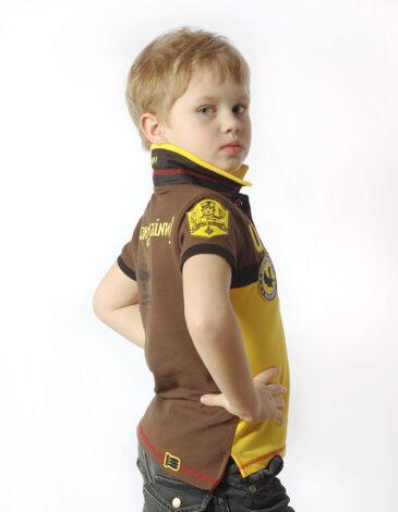 Дитяче Поло 7 Бригада (Петро Франко). Колір жовтий.  Технологія нанесення зображень: вишивка, шовкодрук.