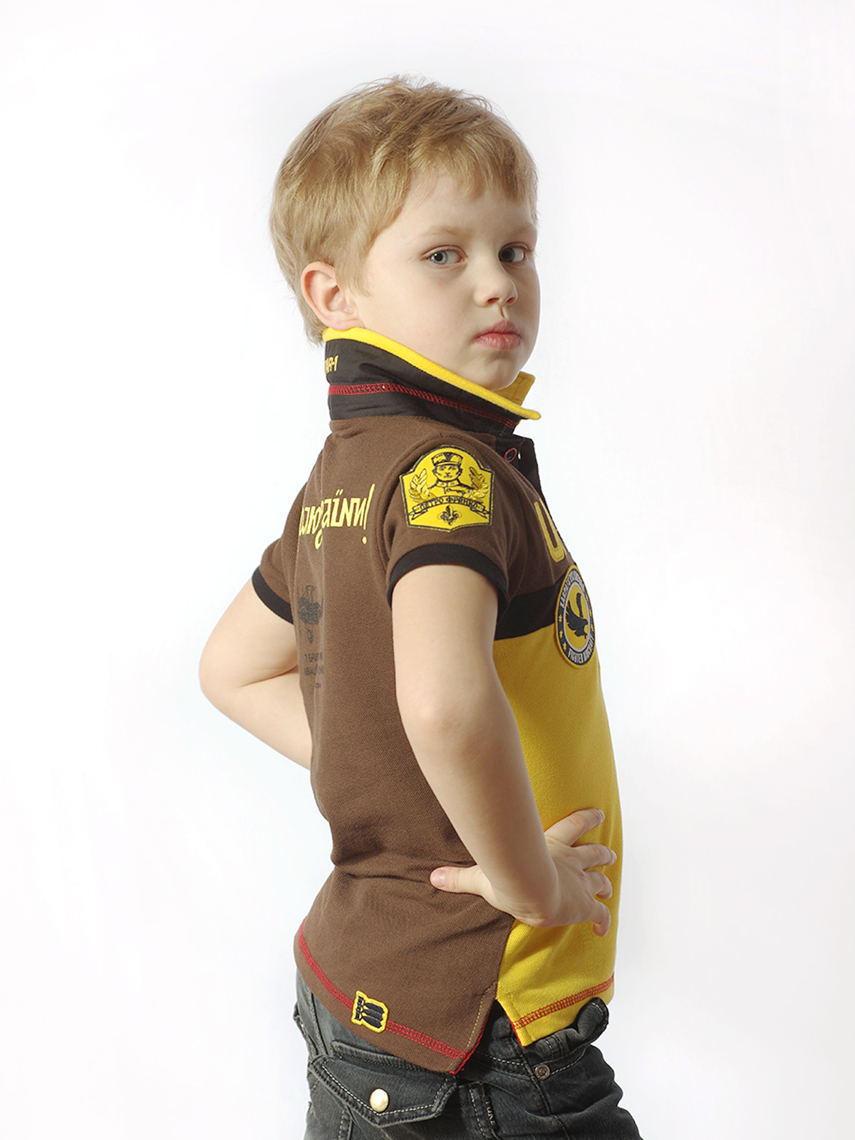 Kids Polo Shirt 7 Brigade (Petro Franko). Color yellow.  Technique of prints applied: embroidery, silkscreen printing.