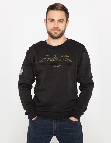 Men's Sweatshirt Marmarosy. Color black.  Three-cord thread fabric: 79% cotton, 21% polyester.