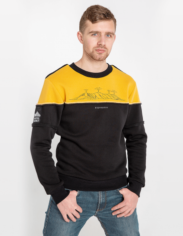 Men's Sweatshirt Marmarosy. Color yellow. Unisex sweatshirt (men's sizes).