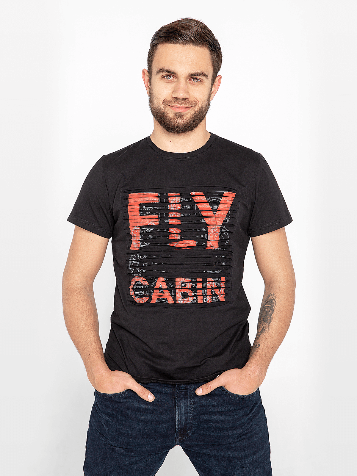 Men's T-Shirt Fly Cabin. Color black. Unisex T-shirt (men's sizes).