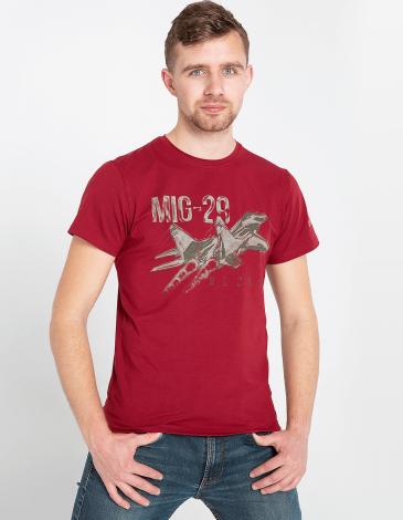 Men's T-Shirt Mig-29. Color claret. Unisex T-shirt (men's sizes).